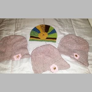 4 NEW HATS knit with crochet flowers, beautifull